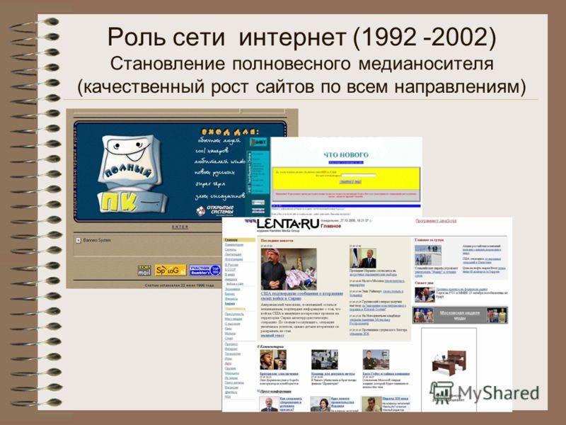 Роль сети интернет (1992 -2002) Становление полновесного медианосителя (качественный рост сайтов по всем направлениям)