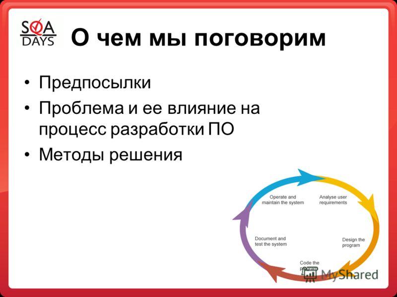 О чем мы поговорим Предпосылки Проблема и ее влияние на процесс разработки ПО Методы решения