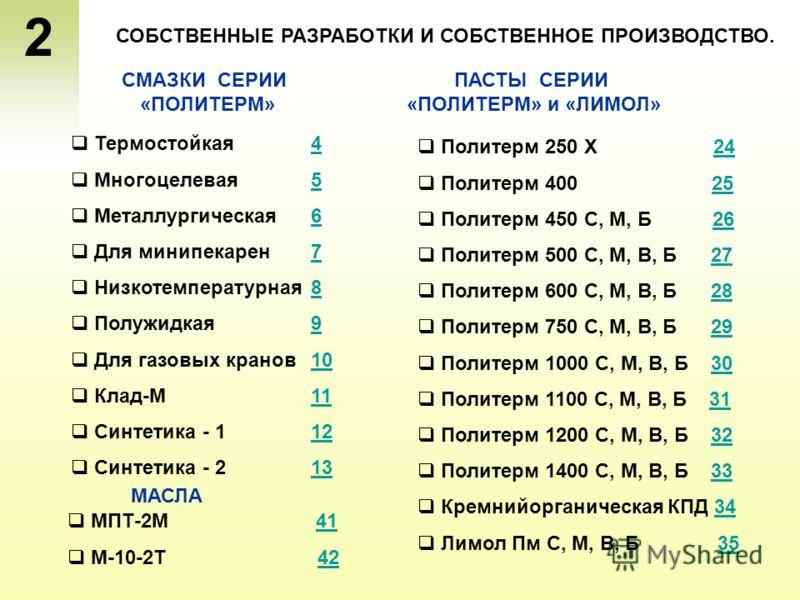 2 Термостойкая 44 Многоцелевая 55 Металлургическая 66 Для мини пекарен 77 Низкотемпературная 88 Полужидкая 99 Для газовых кранов 1010 Клад-М11 Синтетика - 1 1212 Синтетика - 2 1313 СОБСТВЕННЫЕ РАЗРАБОТКИ И СОБСТВЕННОЕ ПРОИЗВОДСТВО. Политерм 250 Х 242