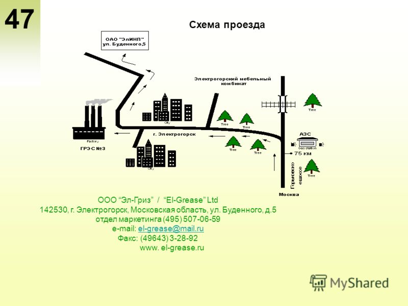 47 Схема проезда ООО Эл-Гриз / El-Grease Ltd 142530, г. Электрогорск, Московская область, ул. Буденного, д.5 отдел маркетинга (495) 507-06-59 e-mail: el-grease@mail.ruel-grease@mail.ru Факс: (49643) 3-28-92 www. el-grease.ru