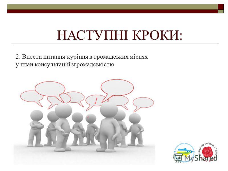 НАСТУПНІ КРОКИ: 2. Внести питання куріння в громадських місцях у план консультацій згромадськістю