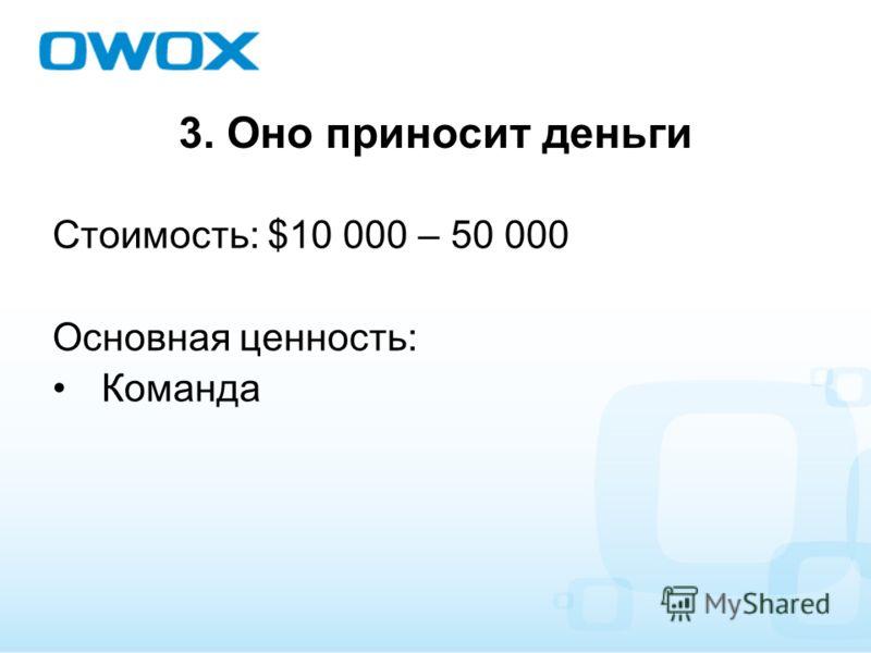 3. Оно приносит деньги Стоимость: $10 000 – 50 000 Основная ценность: Команда