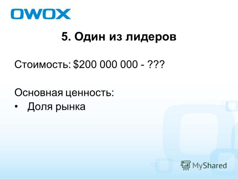 5. Один из лидеров Стоимость: $200 000 000 - ??? Основная ценность: Доля рынка