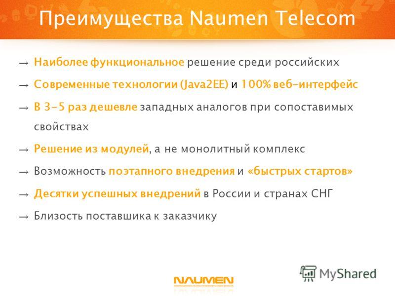 Преимущества Naumen Telecom Наиболее функциональное решение среди российских Современные технологии (Java2EE) и 100% веб-интерфейс В 3-5 раз дешевле западных аналогов при сопоставимых свойствах Решение из модулей, а не монолитный комплекс Возможность