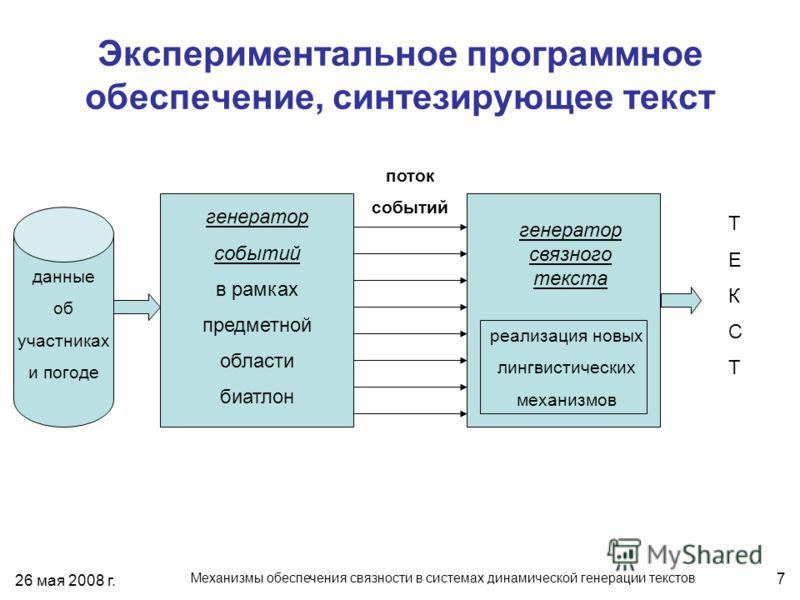 26 мая 2008 г. Механизмы обеспечения связности в системах динамической генерации текстов 7 Экспериментальное программное обеспечение, синтезирующее текст генератор событий в рамках предметной области биатлон генератор связного текста реализация новых