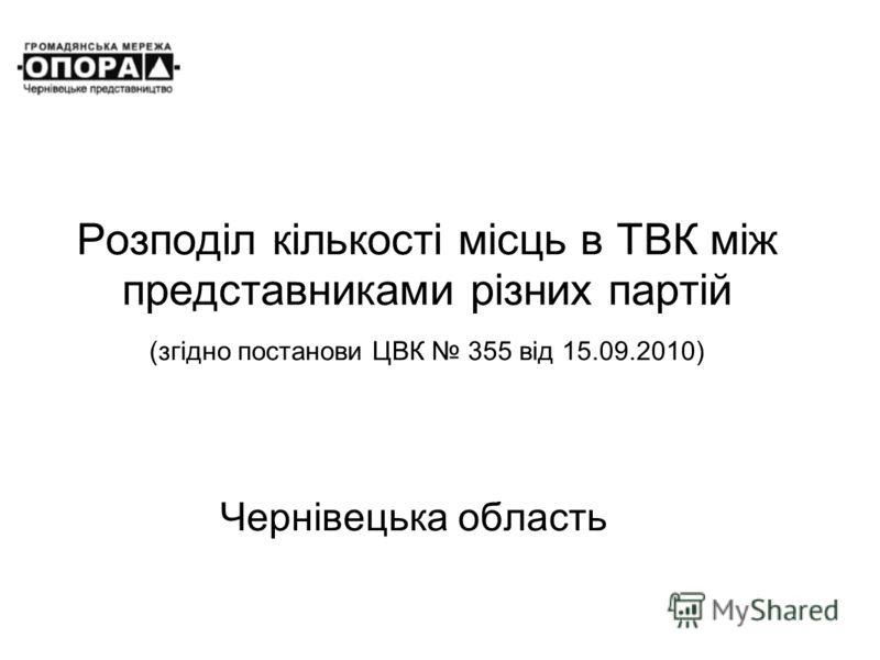 Розподіл кількості місць в ТВК між представниками різних партій (згідно постанови ЦВК 355 від 15.09.2010) Чернівецька область