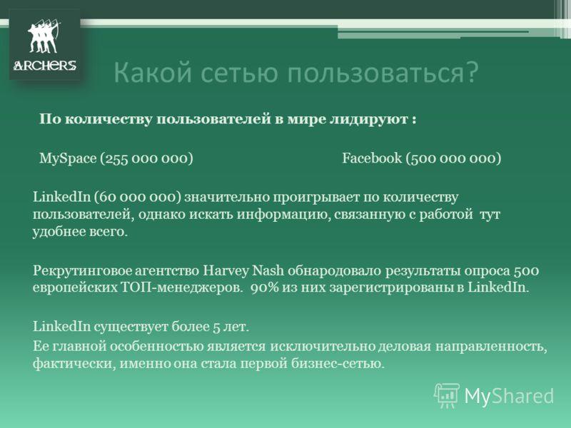 По количеству пользователей в мире лидируют : MySpace (255 000 000) Facebook (500 000 000) LinkedIn (60 000 000) значительно проигрывает по количеству пользователей, однако искать информацию, связанную с работой тут удобнее всего. Рекрутинговое агент