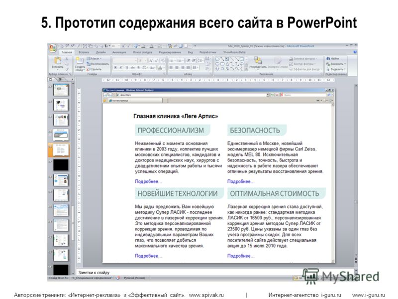 Авторские тренинги: «Интернет-реклама» и «Эффективный сайт». www.spivak.ru | Интернет-агентство i-guru.ru www.i-guru.ru 5. Прототип содержания всего сайта в PowerPoint