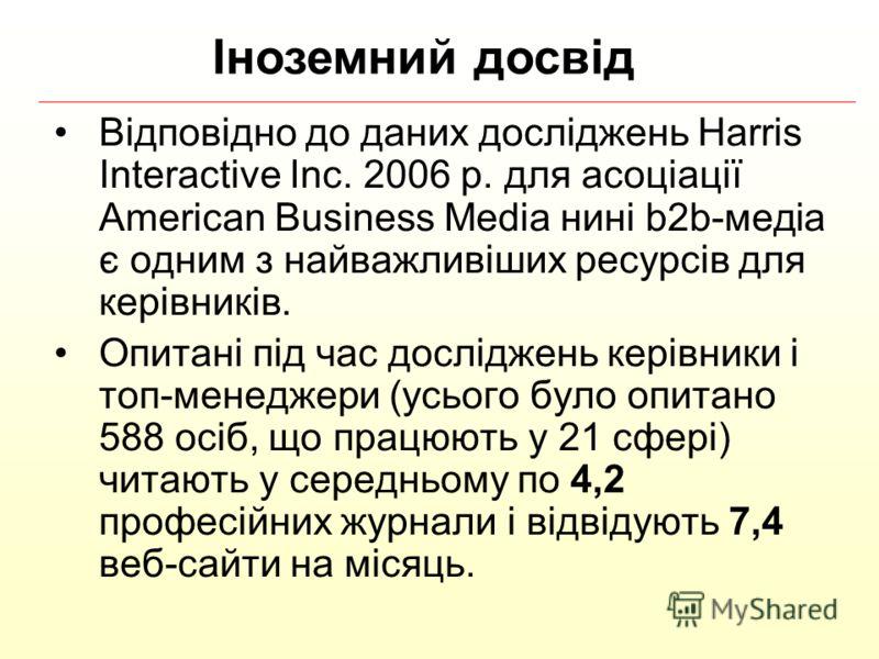 Відповідно до даних досліджень Harris Interactive Inc. 2006 р. для асоціації American Business Media нині b2b-медіа є одним з найважливіших ресурсів для керівників. Опитані під час досліджень керівники і топ-менеджери (усього було опитано 588 осіб, щ