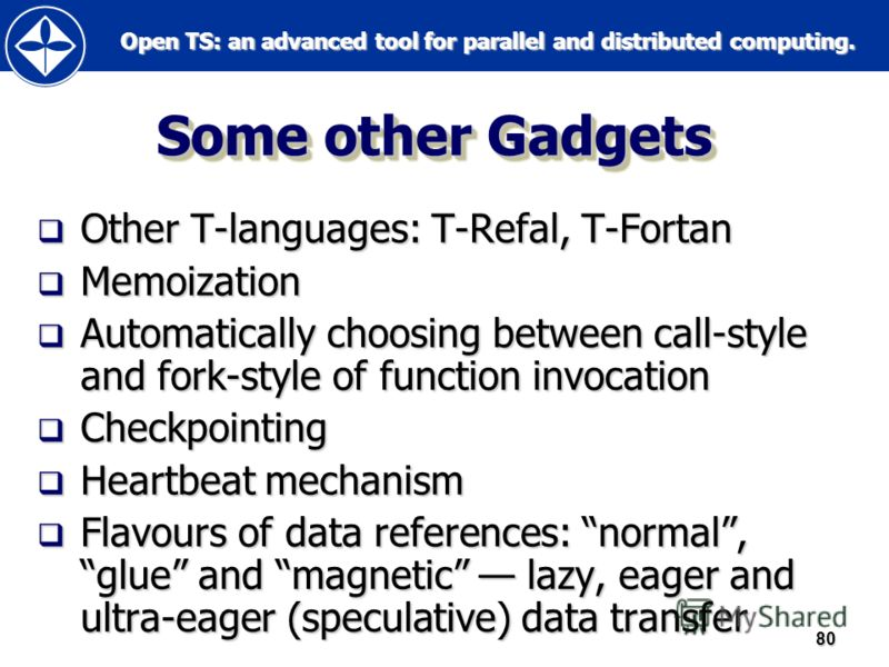 Open TS: an advanced tool for parallel and distributed computing. Open TS: an advanced tool for parallel and distributed computing.80 Some other Gadgets Other T-languages: T-Refal, T-Fortan Other T-languages: T-Refal, T-Fortan Memoization Memoization