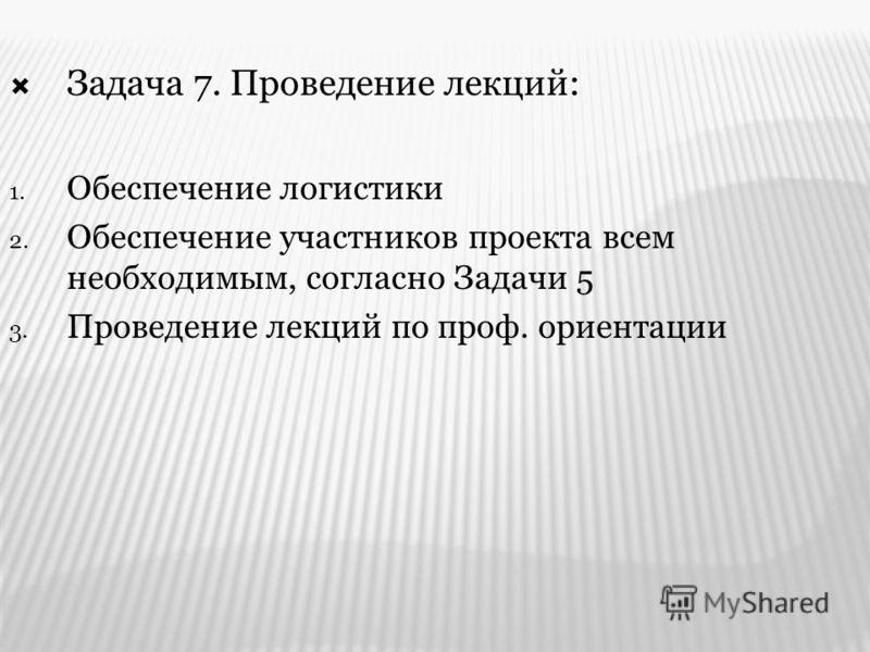 Задача 7. Проведение лекций: 1. Обеспечение логистики 2. Обеспечение участников проекта всем необходимым, согласно Задачи 5 3. Проведение лекций по проф. ориентации