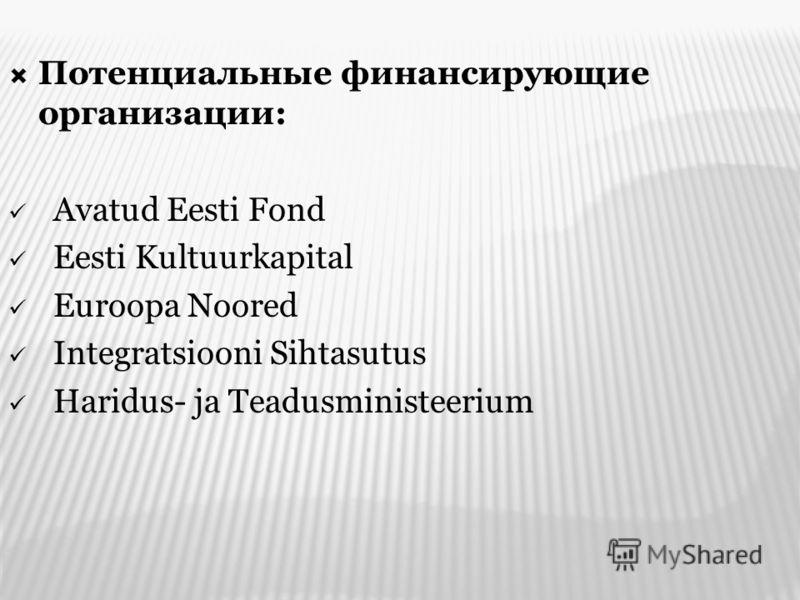 Потенциальные финансирующие организации: Avatud Eesti Fond Eesti Kultuurkapital Euroopa Noored Integratsiooni Sihtasutus Haridus- ja Teadusministeerium