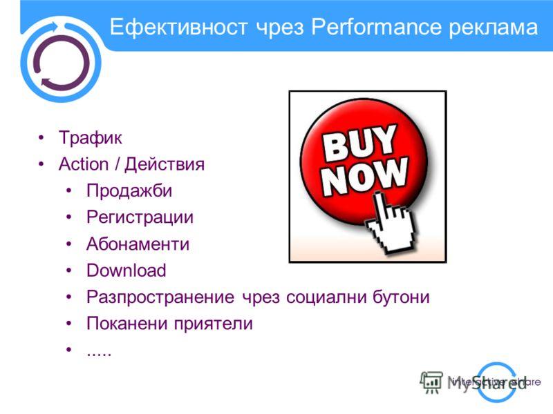 Ефективност чрез Performance реклама Трафик Action / Действия Продажби Регистрации Абонаменти Download Разпространение чрез социални бутони Поканени приятели.....