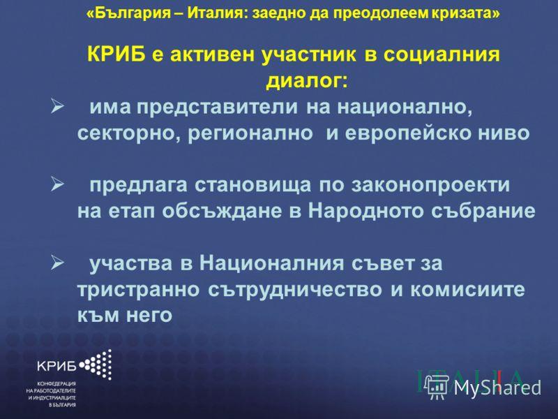 7/4/20126 КОНФЕДЕРАЦИЯ НА РАБОТОДАТЕЛИТЕ И ИНДУСТРИАЛЦИТЕ В БЪЛГАРИЯ (КРИБ) ГЛАСЪТ НА БЪЛГАРСКИЯ БИЗНЕС «България – Италия: заедно да преодолеем кризата» КРИБ е активен участник в социалния диалог: има представители на национално, секторно, регионалн