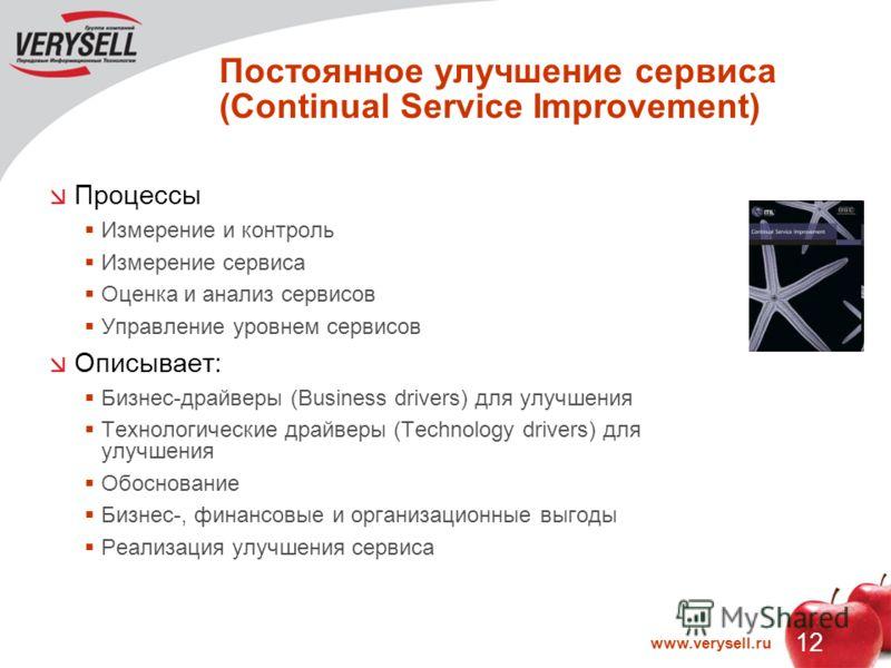 12 www.verysell.ru Постоянное улучшение сервиса (Continual Service Improvement) Процессы Измерение и контроль Измерение сервиса Оценка и анализ сервисов Управление уровнем сервисов Описывает: Бизнес-драйверы (Business drivers) для улучшения Технологи