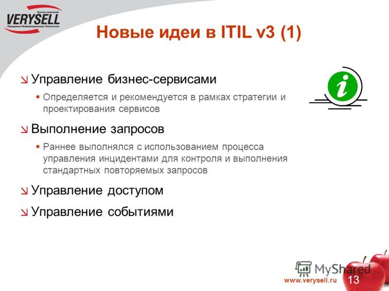13 www.verysell.ru Новые идеи в ITIL v3 (1) Управление бизнес-сервисами Определяется и рекомендуется в рамках стратегии и проектирования сервисов Выполнение запросов Раннее выполнялся с использованием процесса управления инцидентами для контроля и вы