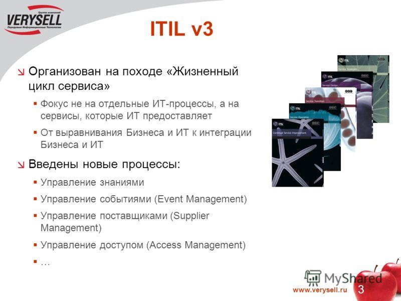 3 www.verysell.ru ITIL v3 Организован на походе «Жизненный цикл сервиса» Фокус не на отдельные ИТ-процессы, а на сервисы, которые ИТ предоставляет От выравнивания Бизнеса и ИТ к интеграции Бизнеса и ИТ Введены новые процессы: Управление знаниями Упра