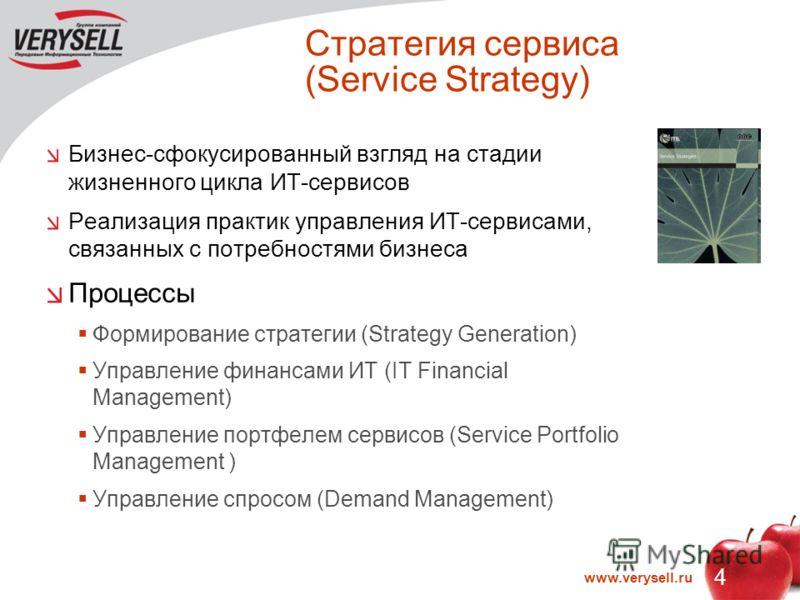 4 www.verysell.ru Стратегия сервиса (Service Strategy) Бизнес-сфокусированный взгляд на стадии жизненного цикла ИТ-сервисов Реализация практик управления ИТ-сервисами, связанных с потребностями бизнеса Процессы Формирование стратегии (Strategy Genera