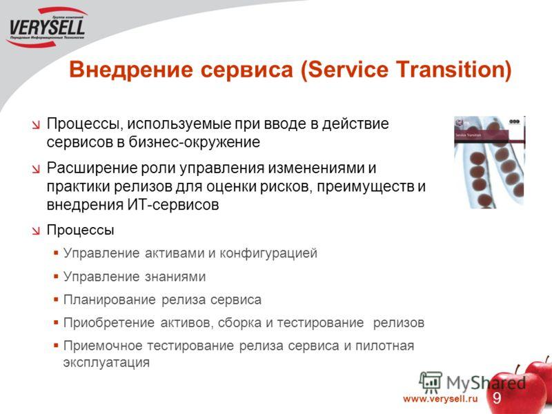 9 www.verysell.ru Внедрение сервиса (Service Transition) Процессы, используемые при вводе в действие сервисов в бизнес-окружение Расширение роли управления изменениями и практики релизов для оценки рисков, преимуществ и внедрения ИТ-сервисов Процессы