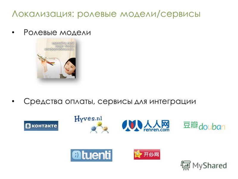 Локализация: ролевые модели/сервисы Ролевые модели Средства оплаты, сервисы для интеграции