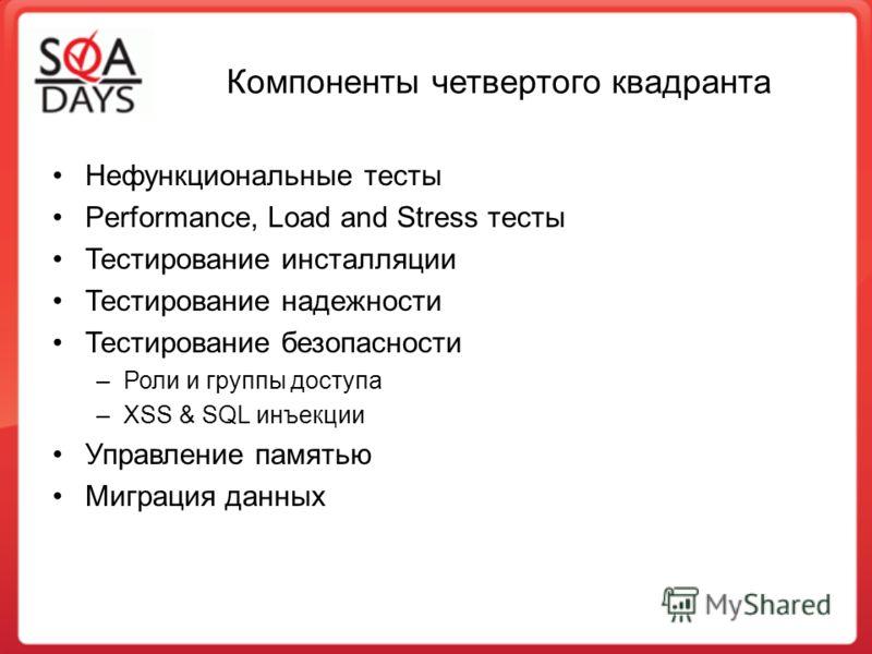Компоненты четвертого квадранта Нефункциональные тесты Performance, Load and Stress тесты Тестирование инсталляции Тестирование надежности Тестирование безопасности –Роли и группы доступа –XSS & SQL инъекции Управление памятью Миграция данных