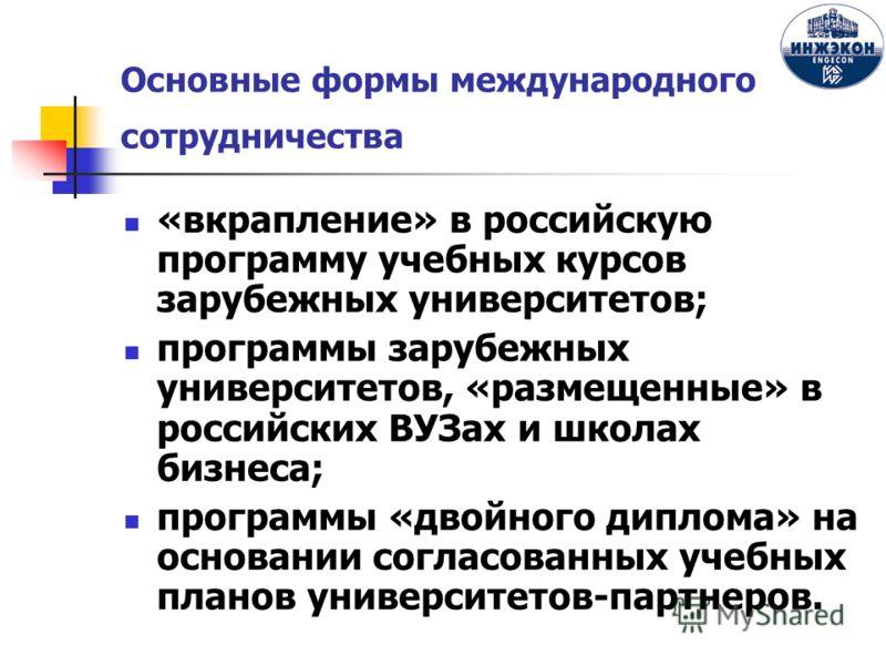 Основные формы международного сотрудничества «вкрапление» в российскую программу учебных курсов зарубежных университетов; программы зарубежных университетов, «размещенные» в российских ВУЗах и школах бизнеса; программы «двойного диплома» на основании