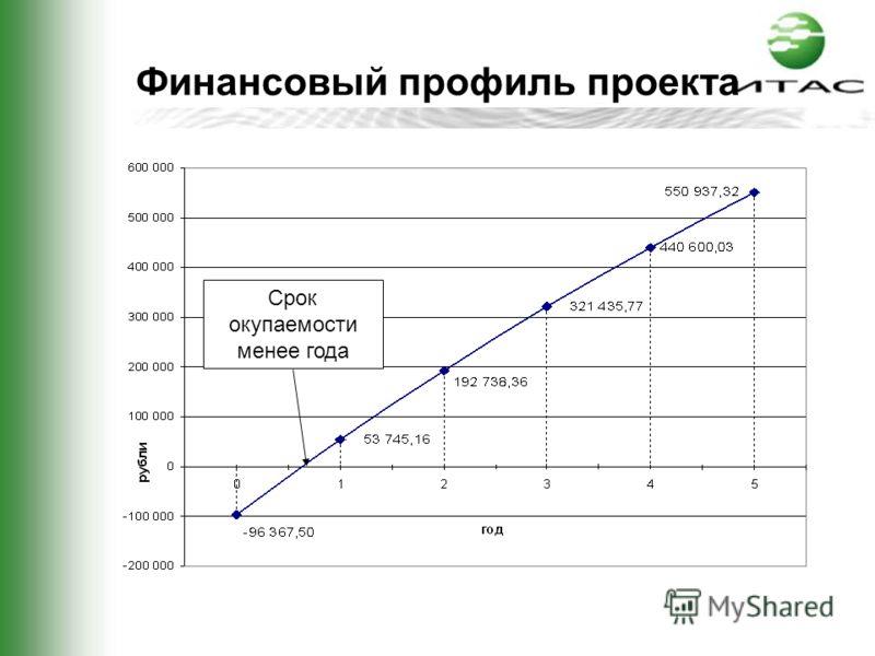 Финансовый профиль проекта Срок окупаемости менее года