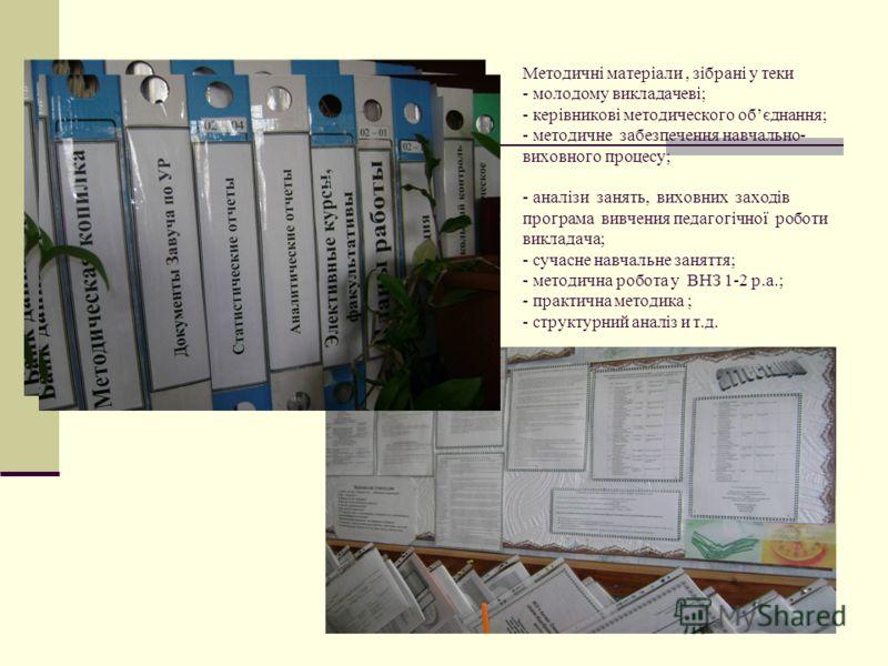 Методичні матеріали, зібрані у теки - молодому викладачеві; - керівникові методического обєднання; - методичне забезпечення навчально- виховного процесу; - аналізи занять, виховних заходів програма вивчения педагогічної роботи викладача; - сучасне на