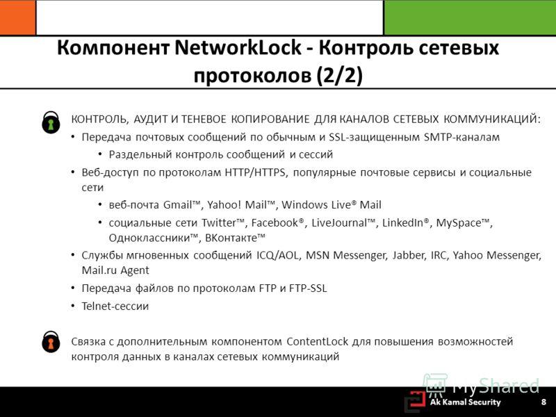 Компонент NetworkLock - Контроль сетевых протоколов (2/2) КОНТРОЛЬ, АУДИТ И ТЕНЕВОЕ КОПИРОВАНИЕ ДЛЯ КАНАЛОВ СЕТЕВЫХ КОММУНИКАЦИЙ: Передача почтовых сообщений по обычным и SSL-защищенным SMTP-каналам Раздельный контроль сообщений и сессий Веб-доступ п