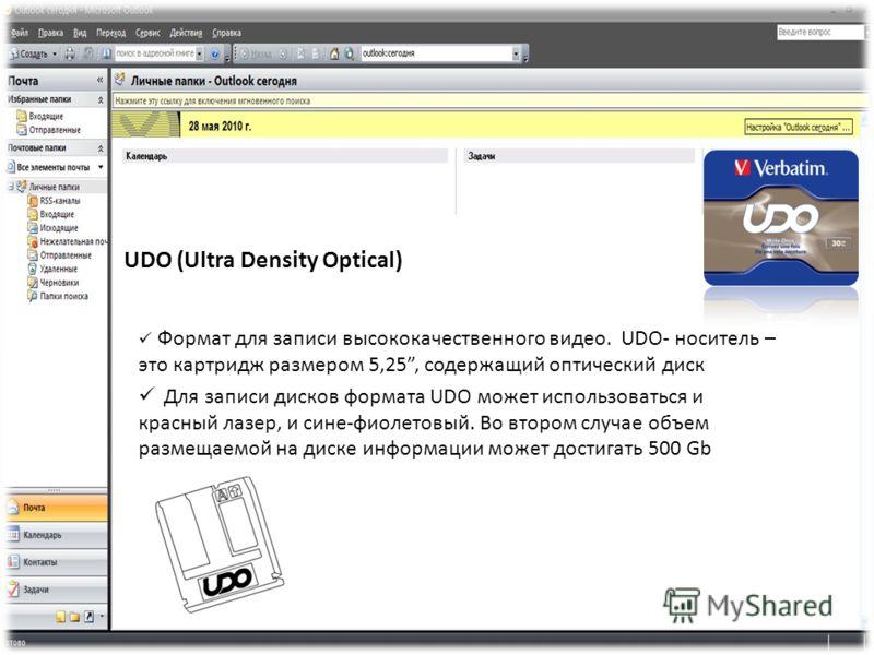 UDO (Ultra Density Optical) Формат для записи высококачественного видео. UDO- носитель – это картридж размером 5,25, содержащий оптический диск Для записи дисков формата UDO может использоваться и красный лазер, и сине-фиолетовый. Во втором случае об