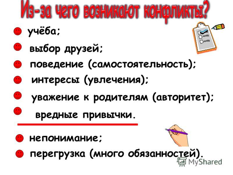 учёба; выбор друзей; поведение (самостоятельность); непонимание; интересы (увлечения); уважение к родителям (авторитет); вредные привычки. перегрузка (много обязанностей).