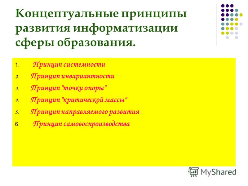 Концептуальные принципы развития информатизации сферы образования. 1. Принцип системности 2. Принцип инвариантности 3. Принцип точки опоры 4. Принцип критической массы 5. Принцип направляемого развития 6. Принцип самовоспроизводства