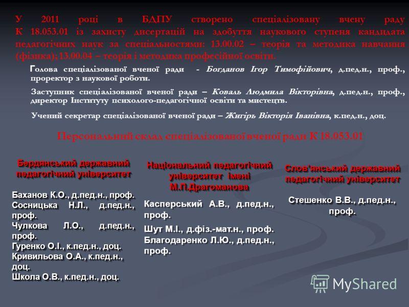 У 2011 році в БДПУ створено спеціалізовану вчену раду К 18.053.01 із захисту дисертацій на здобуття наукового ступеня кандидата педагогічних наук за спеціальностями: 13.00.02 – теорія та методика навчання (фізика); 13.00.04 – теорія і методика профес