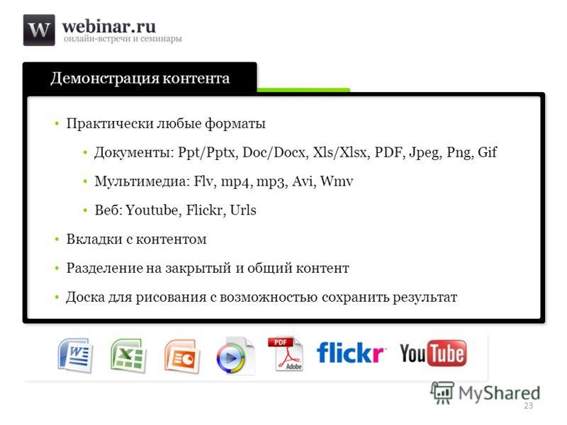Демонстрация контента 23 Практически любые форматы Документы: Ppt/Pptx, Doc/Docx, Xls/Xlsx, PDF, Jpeg, Png, Gif Мультимедиа: Flv, mp4, mp3, Avi, Wmv Веб: Youtube, Flickr, Urls Вкладки с контентом Разделение на закрытый и общий контент Доска для рисов