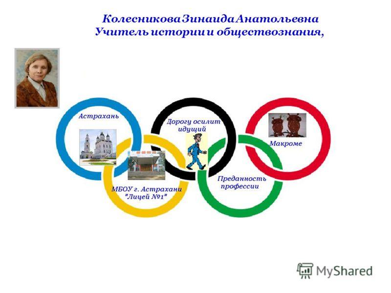 Колесникова Зинаида Анатольевна Учитель истории и обществознания,