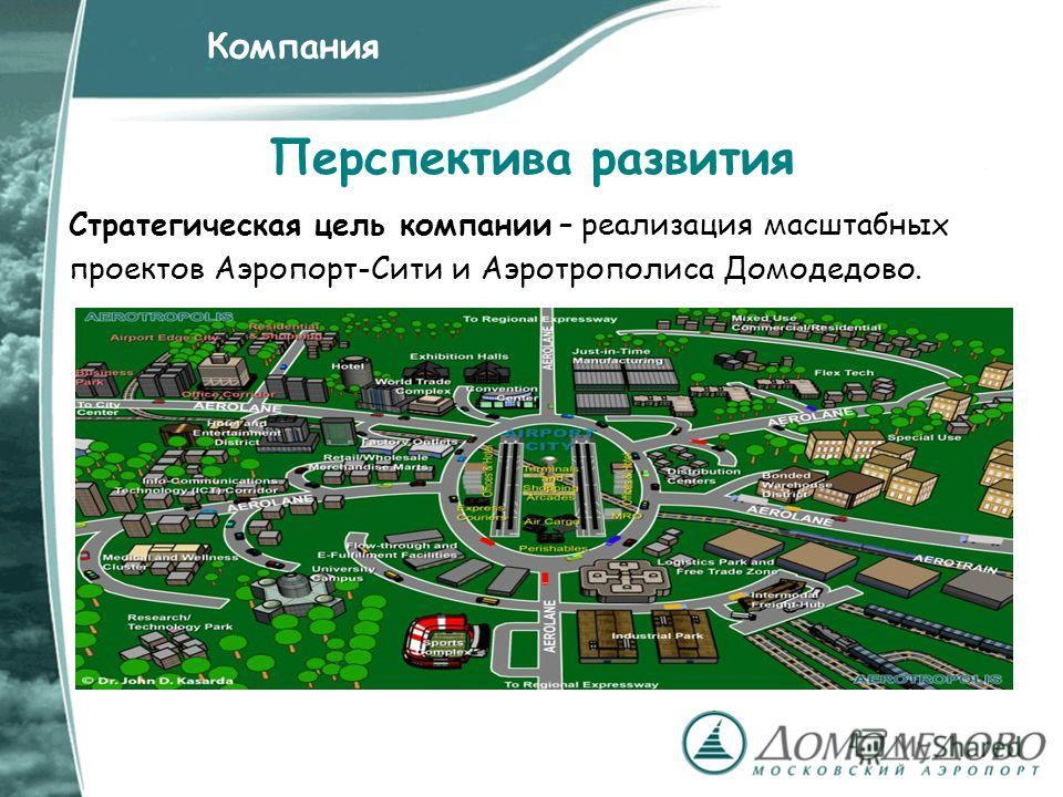Перспектива развития Стратегическая цель компании – реализация масштабных проектов Аэропорт-Сити и Аэротрополиса Домодедово. Компания