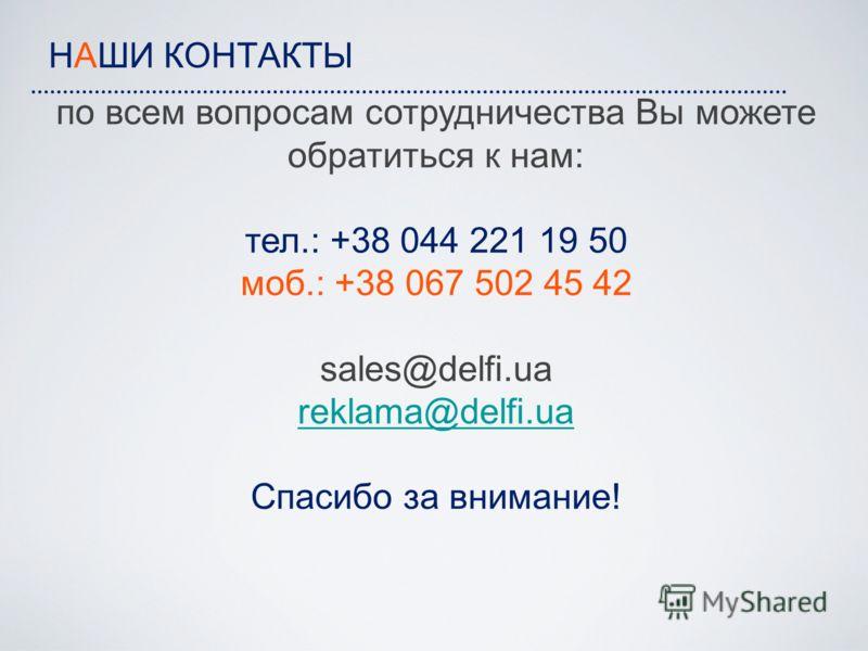 НАШИ КОНТАКТЫ по всем вопросам сотрудничества Вы можете обратиться к нам: тел.: +38 044 221 19 50 моб.: +38 067 502 45 42 sales@delfi.ua reklama@delfi.ua Спасибо за внимание! reklama@delfi.ua