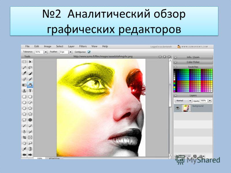 2 Аналитический обзор графических редакторов