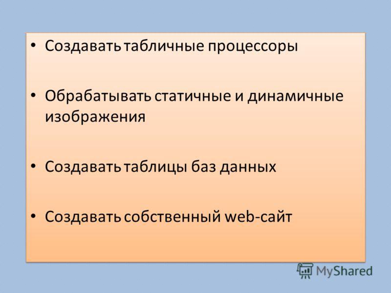 Создавать табличные процессоры Обрабатывать статичные и динамичные изображения Создавать таблицы баз данных Создавать собственный web-сайт Создавать табличные процессоры Обрабатывать статичные и динамичные изображения Создавать таблицы баз данных Соз