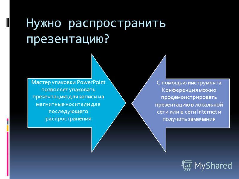Нужно распространить презентацию? Мастер упаковки PowerPoint позволяет упаковать презентацию для записи на магнитные носители для последующего распространения С помощью инструмента Конференция можно продемонстрировать презентацию в локальной сети или