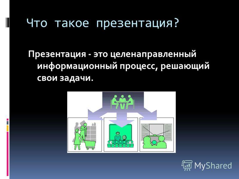 Что такое презентация? Презентация - это целенаправленный информационный процесс, решающий свои задачи.