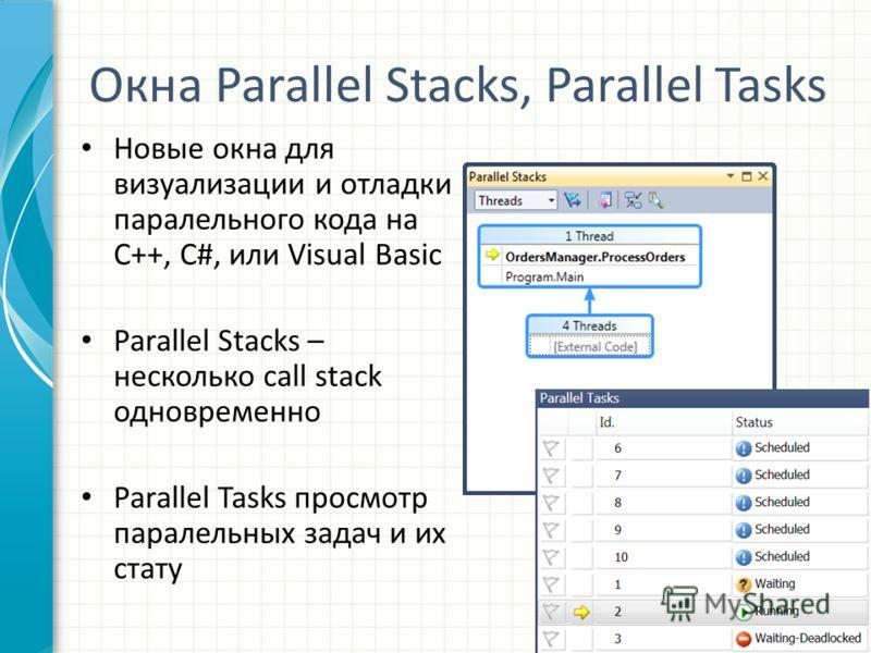 Окна Parallel Stacks, Parallel Tasks Новые окна для визуализации и отладки паралельного кода на C++, C#, или Visual Basic Parallel Stacks – несколько call stack одновременно Parallel Tasks просмотр паралельных задач и их стату