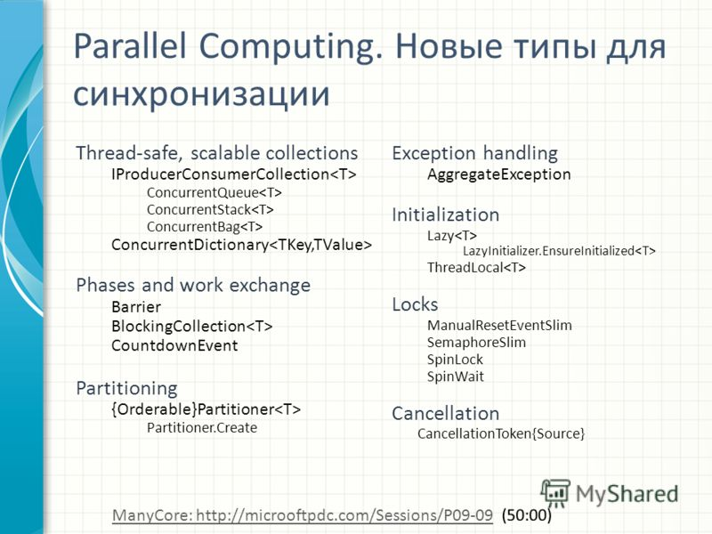Parallel Computing. Новые типы для синхронизации Thread-safe, scalable collections IProducerConsumerCollection ConcurrentQueue ConcurrentStack ConcurrentBag ConcurrentDictionary Phases and work exchange Barrier BlockingCollection CountdownEvent Parti