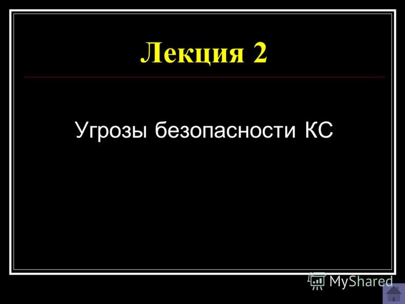Лекция 2 Угрозы безопасности КС