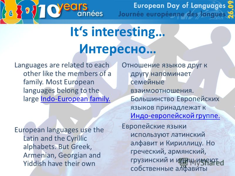 Its interesting… Интересно… Languages are related to each other like the members of a family. Most European languages belong to the large Indo-European family.Indo-European family. European languages use the Latin and the Cyrillic alphabets. But Gree