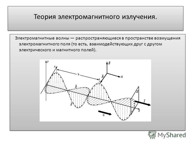 Теория электромагнитного излучения. Электромагнитные волны распространяющиеся в пространстве возмущения электромагнитного поля (то есть, взаимодействующих друг с другом электрического и магнитного полей).