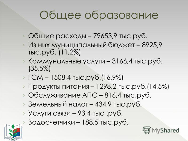 Общие расходы – 79653,9 тыс.руб. Из них муниципальный бюджет – 8925,9 тыс.руб. (11,2%) Коммунальные услуги – 3166,4 тыс.руб. (35,5%) ГСМ – 1508,4 тыс.руб.(16,9%) Продукты питания – 1298,2 тыс.руб.(14,5%) Обслуживание АПС – 816,4 тыс.руб. Земельный на