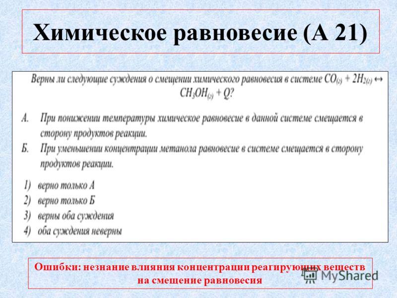 Химическое равновесие (А 21) Ошибки: незнание влияния концентрации реагирующих веществ на смещение равновесия