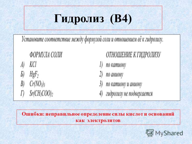 Гидролиз (В4) Ошибки: неправильное определение силы кислот и оснований как электролитов