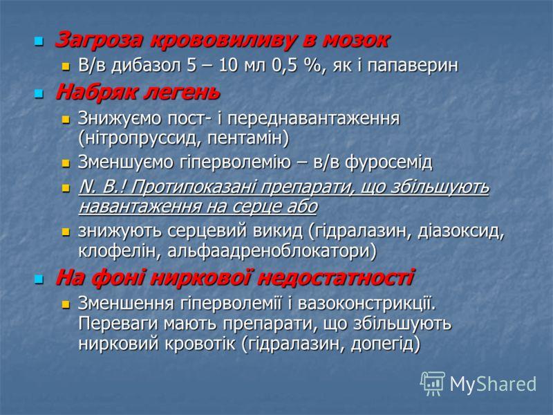 Загроза крововиливу в мозок Загроза крововиливу в мозок В/в дибазол 5 – 10 мл 0,5 %, як і папаверин В/в дибазол 5 – 10 мл 0,5 %, як і папаверин Набряк